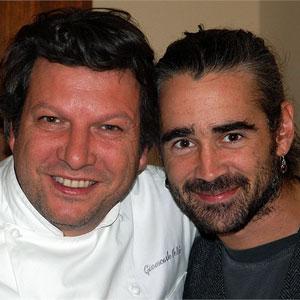 Giancarlo Polito con Colin Farrel vip ospite della Locanda del Capitano ristorante hotel a Montone, Umbria