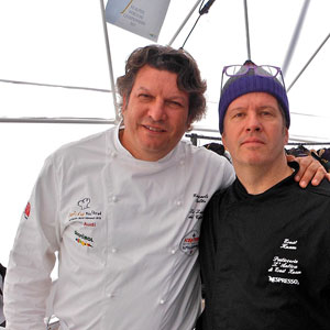 Giancarlo Polito with Ernst Knam King of chocolate. Restaurants Perugia, Umbria
