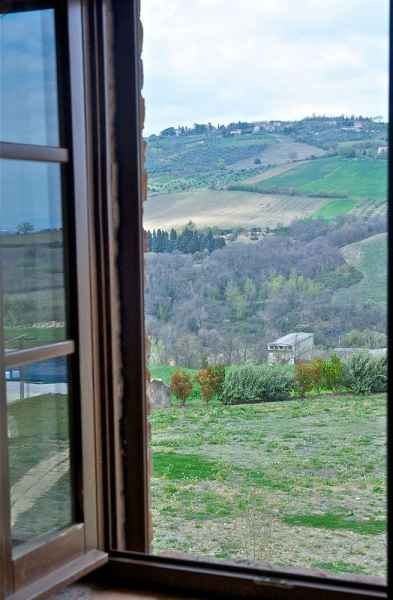 Italy holidays: Montone hight valley of Tevere river in Umbria. View from the hotel